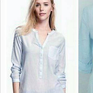 Old Navy Blue Gauze Sheer Tunic Shirt Top